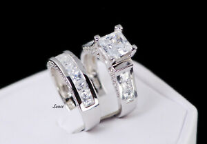 4.35 CT Princess Cut 925 Sterling Womens Wedding Engagement Bridal Ring Set