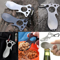 Survival Tools Multifunction Spoon Fork Bottle Opener Camping Hiking Home NP2X