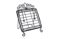 Black Wrought Iron Cook Book Stand With Page Weights