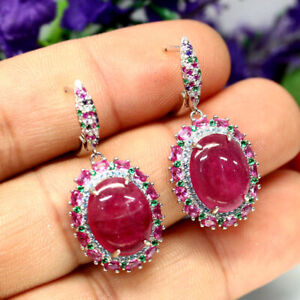 NATURAL 11 X 14mm. PINK RUBY & WHITE CZ EARRINGS 925 SILVER STERLING