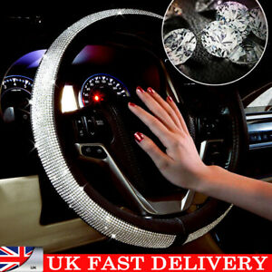 Car Steering Wheel Crystal Sparkled Diamond Cover PU Leather Skidproof Bling UK