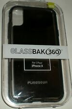PureGear GlassBak 360 for Apple iPhone X, Glass Back, Black Aluminum Bumper NEW