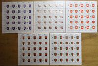 25 x Bund 1660 - 1664 Bogen Satz postfrisch Formnummern Wappen der Länder 1993