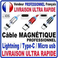 CABLE USB CHARGEUR MAGNETIQUE  ANDROID TYPE C MICRO USB  IPHONE RÉSISTANT 1M/2M