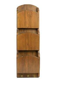 "Vintage Wood Wall Mount 3 Slot Mail Bill Organizer 21"" x 6.25"""