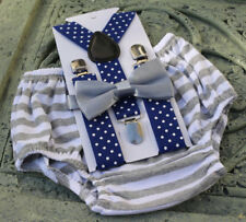 1st Birthday boy cake smash diaper cover bow tie boy clothes  gray stripe royal