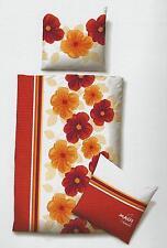 Maui Sports Baumwolle Satin Bettwäsche 4tlg RV 135x200 cm Blumen rot orang weiß