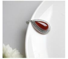 Noble Jewel Drop Shaped Red Agate 925 Sterling Silver Pendant Necklace
