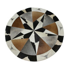 Finest Leather Cowhide Patchwork Rug Cow Bull Horn 4x4 ft Round Animal Hide Sale