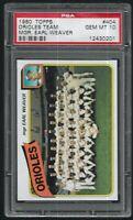 1980 Topps Baltimore Orioles Team Card Earl Weaver #404 PSA 10 GEM MINT HOF