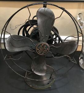 "12"" Antique Fan: General Electric G.E.; Brass; Green Paint; Unrestored"