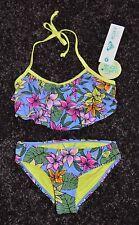NWT Roxy Girl Ruffle Flutter top Bikini 2 piece Swimsuit  Size 12 Free Shipping