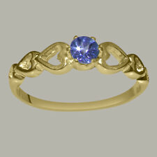18ct 750 Yellow Gold Natural Tanzanite Womens Solitaire Ring - Sizes J to Z