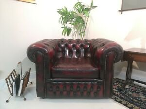 Oxblood Red Leather Chesterfield Armchair Damaged delivery available