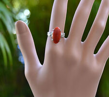 Estate Vintage Navette Ox Blood CORAL Cabochon 14k white Gold size 6 1/4