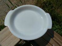Vintage Fire King White Milk Glass Pie Plate Baking Dish 9 Inch w Handles #0971