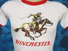 NOS vtg 80s WINCHESTER RIFLE COWBOY HORSE RINGER T-Shirt XXS gun cartoon thin