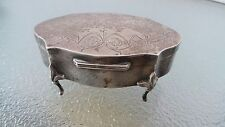 RARE Antique Sterling Silver Footed Jewelry Trinket Box