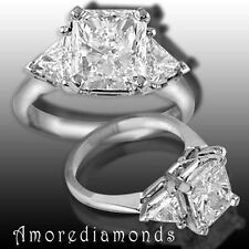 2.46 ct H/I VS2 radiant trillion cut diamond 3 stone engagement ring platinum