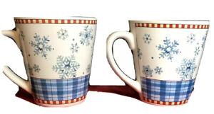 Sakura Snowflake Mugs S/2 Debbie Mumm No Chips Cracks Or Crazing Great Condition