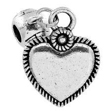 10 Novità Charm Ciondoli Cuore di Amore con Perle Sfere Argento Antico 22x17mm
