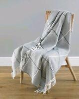 Modena Wool Feel Ultra Cosy Shabby Chic Grey Check Fringed Throw 130x170cm