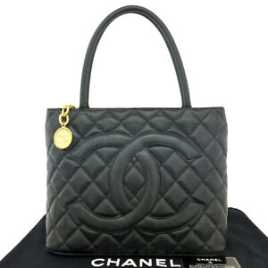 CHANEL Classic Gold Medallion CC Logo Quilted Black Caviar Skin Tote Bag/90195