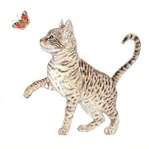 4xMixed Single Paper Table Napkins/33cm/3PlyDecoupage/Cat/Kitten with Butterfly