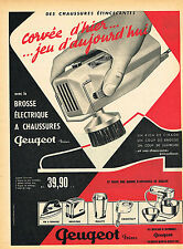 PUBLICITE ADVERTISING 035 1960  PEUGEOT   brosse éléctrique à chaussures