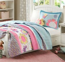 CRAZY DAISY Twin QUILT SET : TEEN GIRLS BLUE FLORAL GARDEN FLOWERS BEDDING