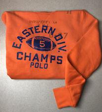 POLO RALPH LAUREN Division Champs Crew Neck Sweatshirt Orange Sweater Size Med