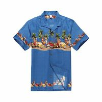 Men Aloha Shirt Cruise Tropical Luau Party Hawaiian Blue Vintage Cars Surf Palm