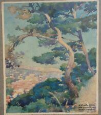 Dessin Aquarelle ancienne Henri Caruchet Art Nouveau watercolor landscape