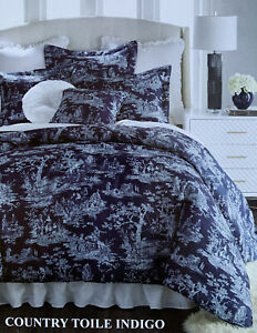 Sherry Kline Home Country Toile Indigo Queen Comforter Set Includes Shams New