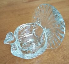Vintage 1979 Avon clear heavy glass shimmering peacock figurine candle holder
