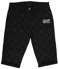 Ladies 10-20 New Black Jacquard Soft Touch Denim Knee Length Shorts Womens UK