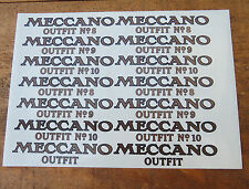Meccano Outfit Lid Transfer Replacements. Stickers/Labels/Decals. Reproductions