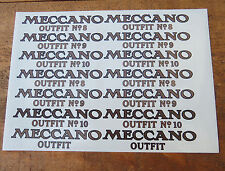 Meccano Vintage Outfit Lid Transfer/Decal Replacement Stickers/Labels Repros.