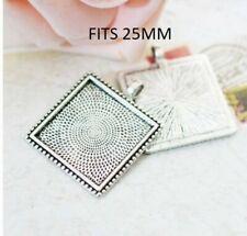 2 xAntique silver square cabochon setting pendants FITS 25mm GLASS