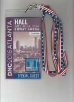House of Cards Screen Used Prop 2016 DNC Hall Special Guest Pass W/ Lanyard