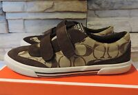 New coach priya women shoes signature print sneakers khaki chestnut velcro 9