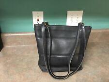 COACH New York Vintage Black Leather Tote Shoulder Bag Purse 9098 (CON18)