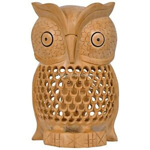 Handmade Wooden Carved Owl Showpiece Home Decor Gift Item Undercut Figurine