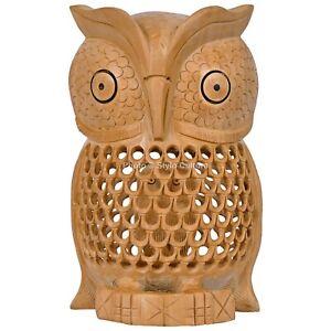Handmade Wooden Carved Owl Showpiece Home Decor Gift Item Undercut Figurine