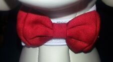 Dog Red Bow Tie on White Collar - Small - Medium Neck Girth 25 - 28cm Wedding