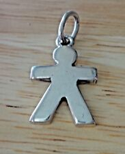 Sterling Silver 24x15mm Single Boy Paper Doll Style Charm!