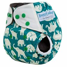 HappyEndings Bamboo Charcoal AI2 (all in two)Diaper w 5 layer insert (Elephants)