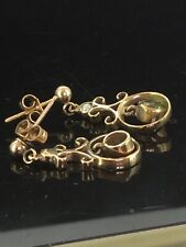 Antique Peridot Earrings Gold 9CT Seed Pearls Dainty Open Back Circa1890 Style