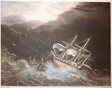 Gravure Etching A VESSEL RUN DOWN AT SEA after Joseph F. ELLIS by Henry Ed. DAW