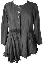 Ewa i Walla Black Cotton Asymmetric Jacket Romantic Vintage Style